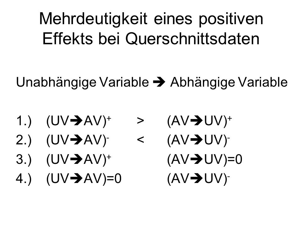Mehrdeutigkeit eines positiven Effekts bei Querschnittsdaten Unabhängige Variable Abhängige Variable 1.)(UV AV) + >(AV UV) + 2.)(UV AV) - <(AV UV) - 3
