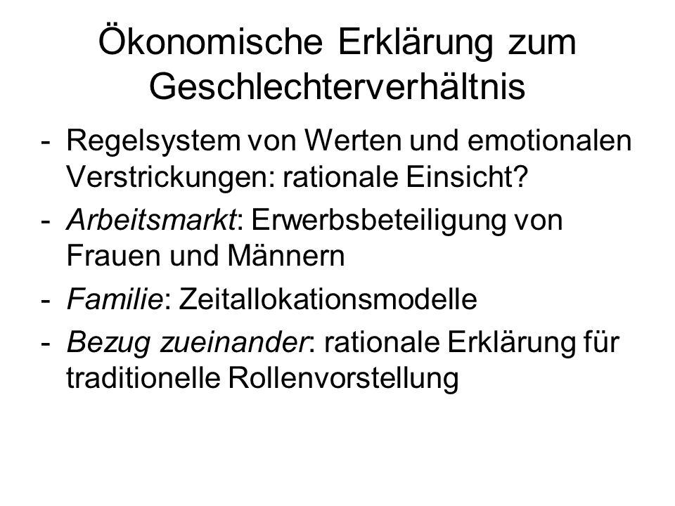 Ökonomische Erklärung zum Geschlechterverhältnis -Regelsystem von Werten und emotionalen Verstrickungen: rationale Einsicht? -Arbeitsmarkt: Erwerbsbet