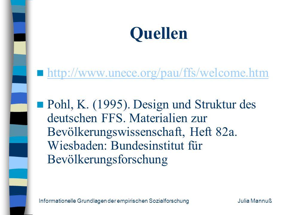 Informationelle Grundlagen der empirischen Sozialforschung Julia Mannuß Veröffentlichung Lauterbach, Wolfgang (1999): Die Dauer nichtehelicher Lebensg