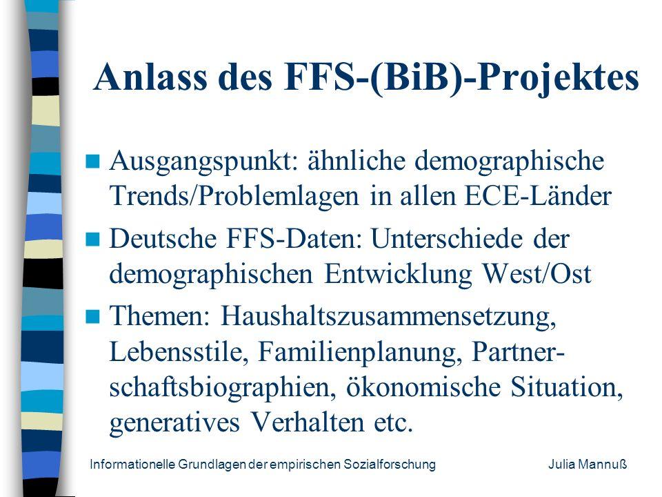 Informationelle Grundlagen der empirischen Sozialforschung Julia Mannuß Allgemeines FFS: Fertility and Family Survey Seit 1988 für alle Mitgliedslände