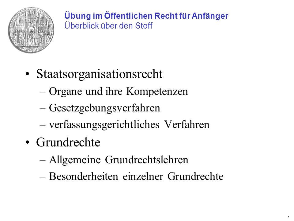 Staatsorganisationsrecht –Organe und ihre Kompetenzen –Gesetzgebungsverfahren –verfassungsgerichtliches Verfahren Grundrechte –Allgemeine Grundrechtsl
