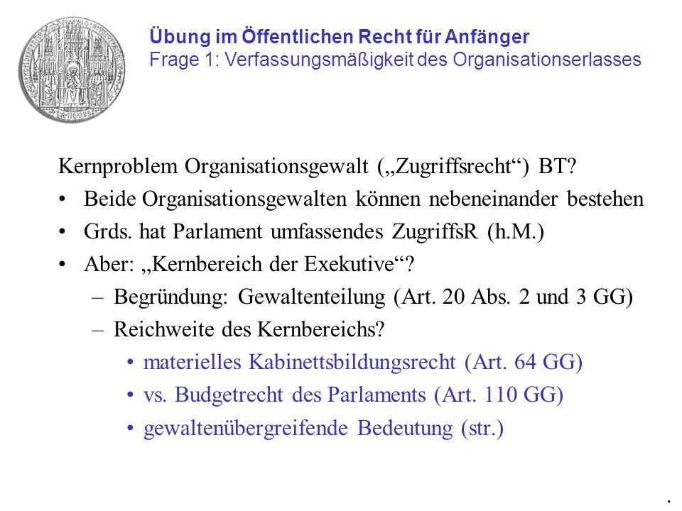 Kernproblem Organisationsgewalt (Zugriffsrecht) BT? Beide Organisationsgewalten können nebeneinander bestehen Grds. hat Parlament umfassendes Zugriffs