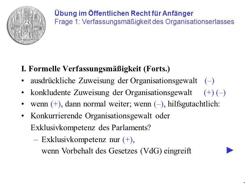 I. Formelle Verfassungsmäßigkeit (Forts.) ausdrückliche Zuweisung der Organisationsgewalt (–) konkludente Zuweisung der Organisationsgewalt (+) (–) Üb