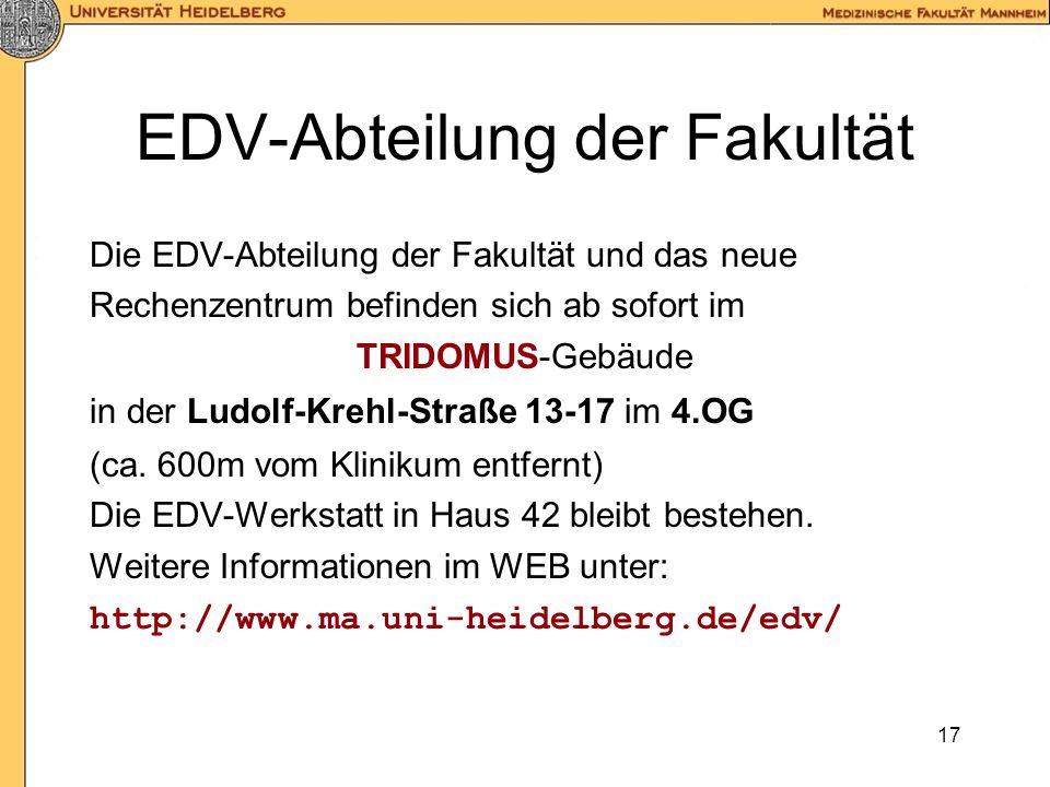 16 ToDo-Liste Jedes Institut / jede Klinik benennt einen EDV- Koordinator für F&L. Der EDV-Koordinator erstellt eine Liste der Benutzer und Anwendunge