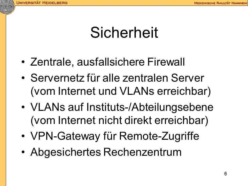 6 Sicherheit Zentrale, ausfallsichere Firewall Servernetz für alle zentralen Server (vom Internet und VLANs erreichbar) VLANs auf Instituts-/Abteilungsebene (vom Internet nicht direkt erreichbar) VPN-Gateway für Remote-Zugriffe Abgesichertes Rechenzentrum