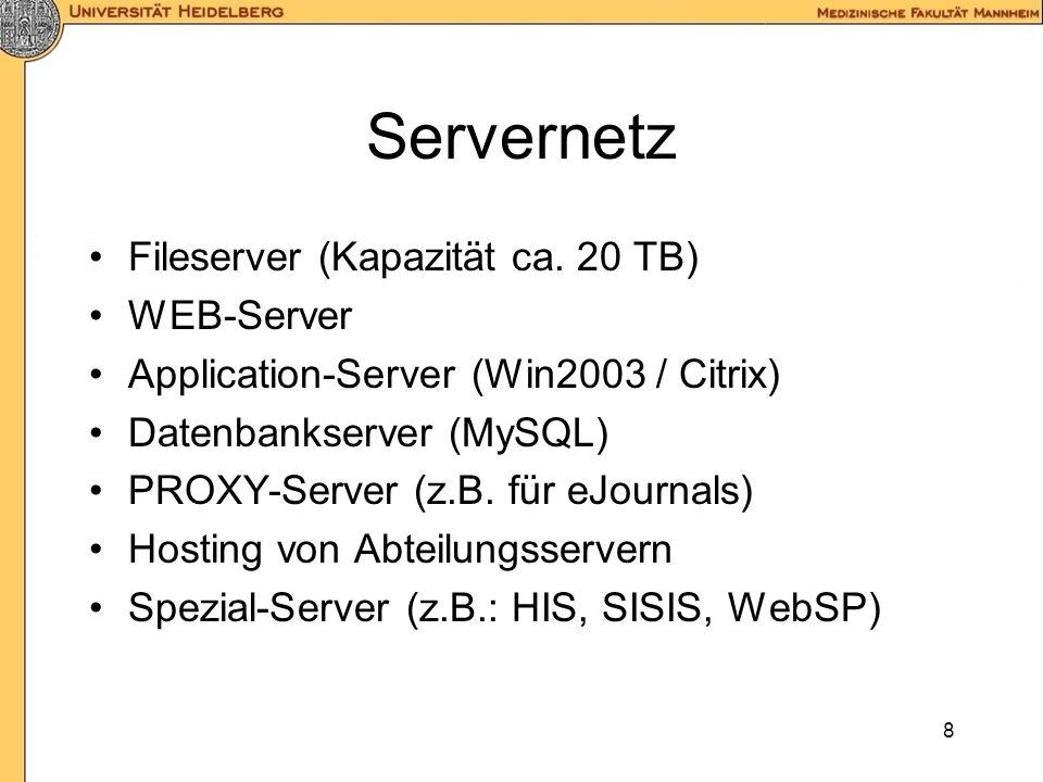 8 Servernetz Fileserver (Kapazität ca.