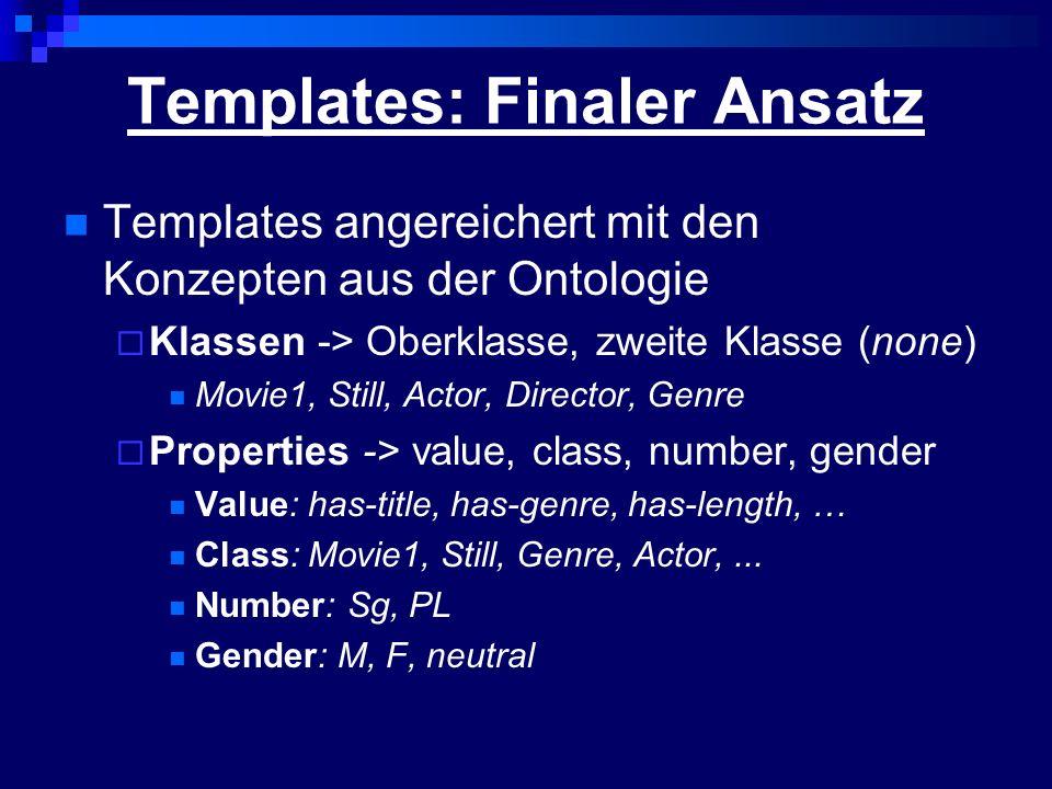 Templates: Finaler Ansatz Templates angereichert mit den Konzepten aus der Ontologie Klassen -> Oberklasse, zweite Klasse (none) Movie1, Still, Actor,