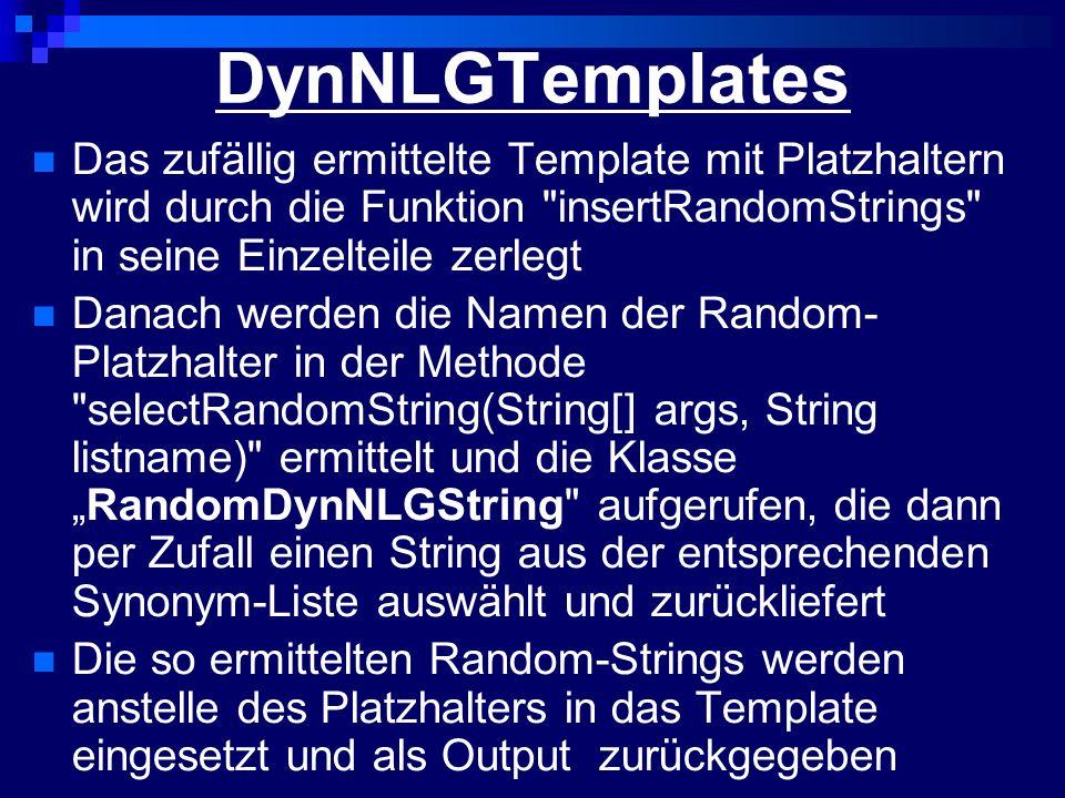 GetParametersFromXML Benötigt mindestens ein xml-file als Kommandozeilenparameter Erstellt einen nicht-validierenden DOM- Parser, der dann das xml-file an Position 1 der Kommandozeilen-paramtereliste einliest Die gewünschten Parameter werden in Variablen geschrieben und als Ergebnisstring zurückgeliefert Der auszugebende Inhalt aus der Ontologie wird ebenfalls in eine Variable geschrieben