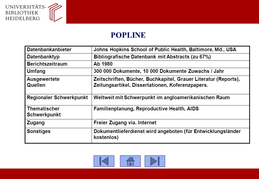 POPLINE Datenbankanbieter Johns Hopkins School of Public Health, Baltimore, Md., USA Datenbanktyp Bibliografische Datenbank mit Abstracts (zu 67%) Ber
