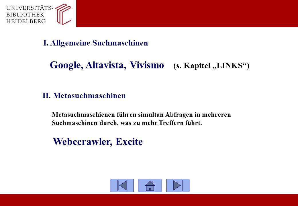 I. Allgemeine Suchmaschinen Google, Altavista, Vivismo (s. Kapitel LINKS) II. Metasuchmaschinen Metasuchmaschienen führen simultan Abfragen in mehrere