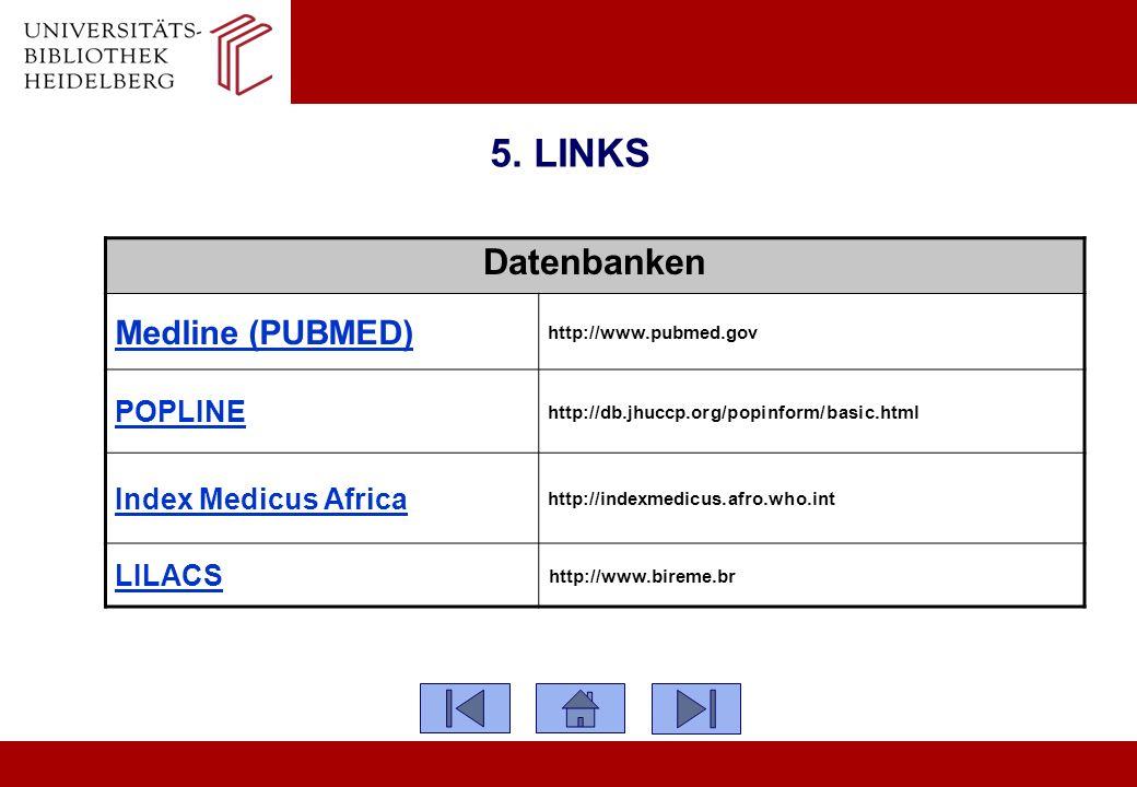 5. LINKS Datenbanken Medline (PUBMED) http://www.pubmed.gov POPLINE http://db.jhuccp.org/popinform/basic.html Index Medicus Africa http://indexmedicus