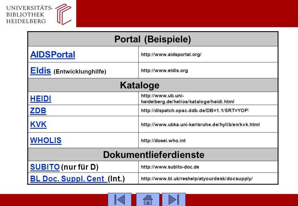 Portal (Beispiele) AIDSPortal http://www.aidsportal.org/ EldisEldis (Entwicklunghilfe) http://www.eldis.org Kataloge……… HEIDI http://www.ub.uni- heide
