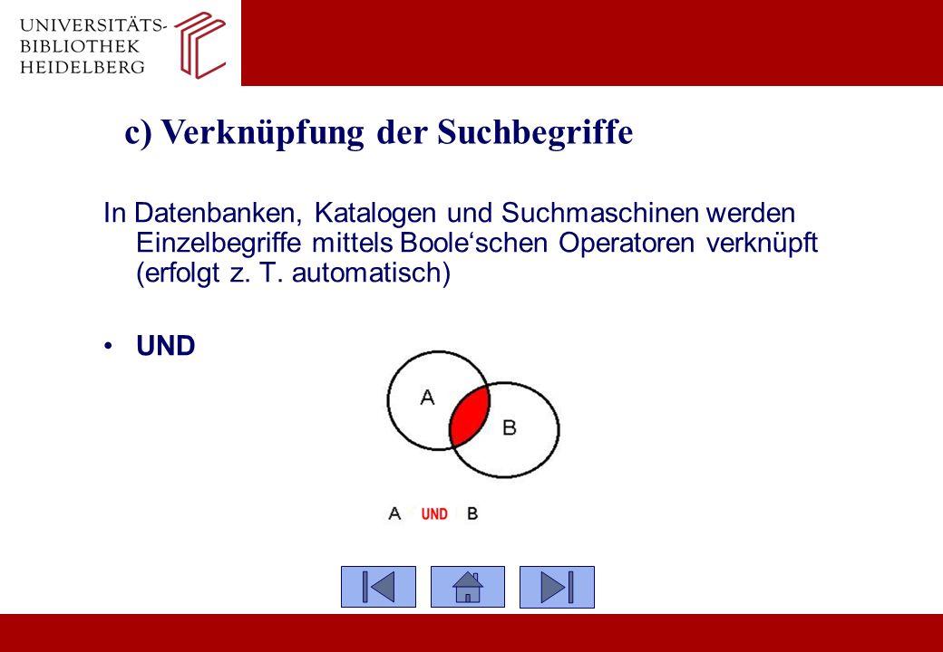 c) Verknüpfung der Suchbegriffe In Datenbanken, Katalogen und Suchmaschinen werden Einzelbegriffe mittels Booleschen Operatoren verknüpft (erfolgt z.