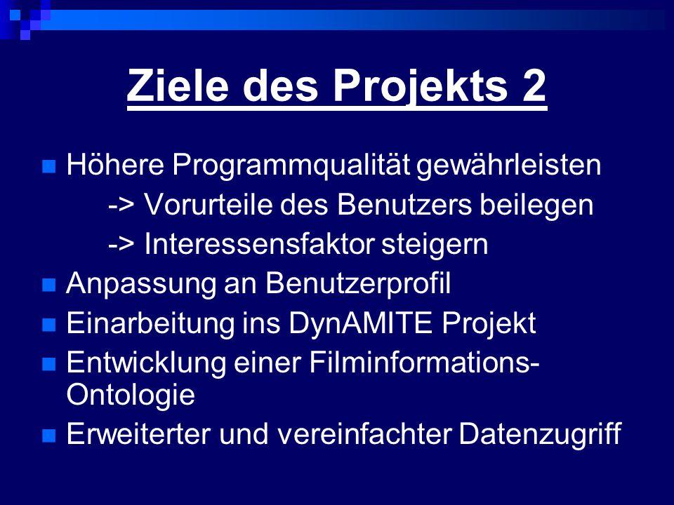 Ziele des Projekts 2 Höhere Programmqualität gewährleisten -> Vorurteile des Benutzers beilegen -> Interessensfaktor steigern Anpassung an Benutzerprofil Einarbeitung ins DynAMITE Projekt Entwicklung einer Filminformations- Ontologie Erweiterter und vereinfachter Datenzugriff