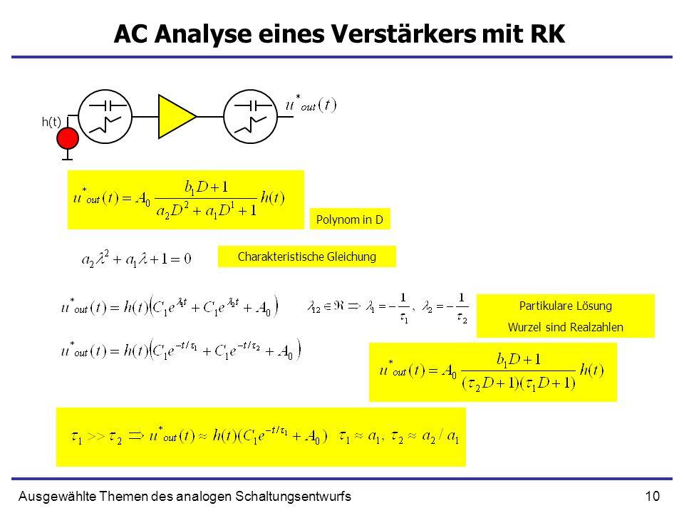 10Ausgewählte Themen des analogen Schaltungsentwurfs AC Analyse eines Verstärkers mit RK h(t) Polynom in D Charakteristische Gleichung Partikulare Lös