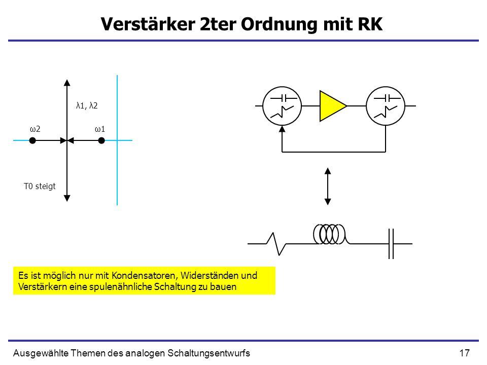 17Ausgewählte Themen des analogen Schaltungsentwurfs Verstärker 2ter Ordnung mit RK ω1ω1ω2ω2 λ1, λ2 T0 steigt Es ist möglich nur mit Kondensatoren, Wi