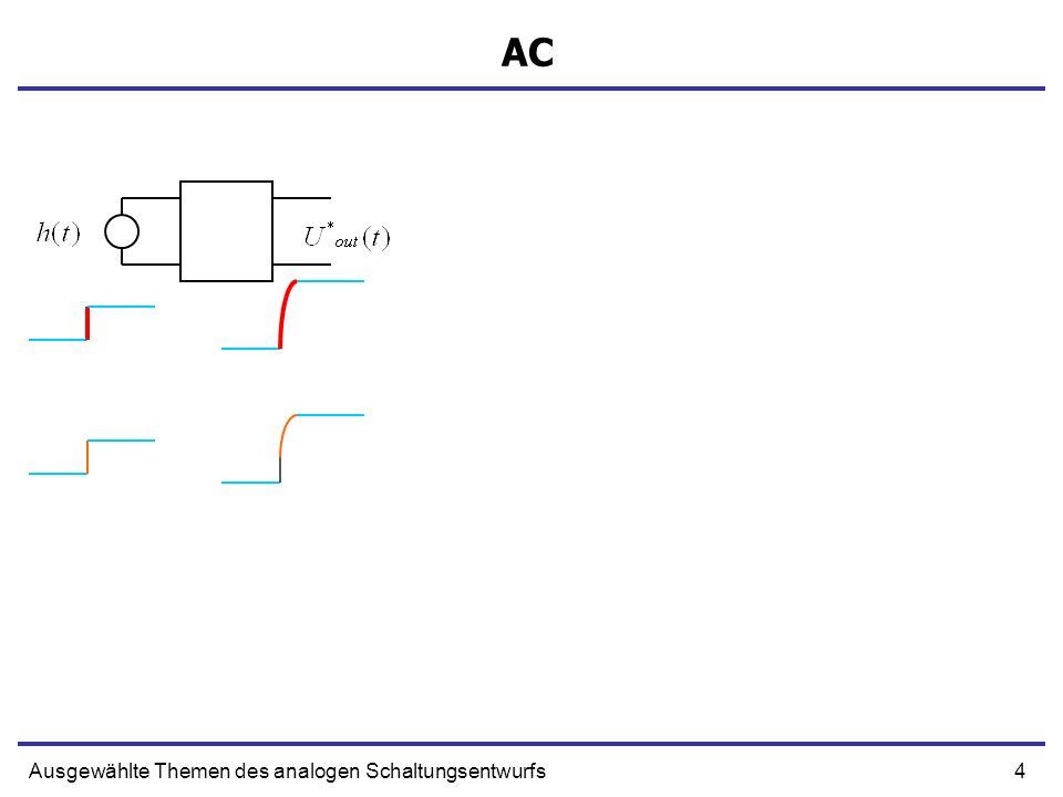 15Ausgewählte Themen des analogen Schaltungsentwurfs Stabilität Für Q Faktor kleiner als 0,5 die Antwort des Verstärkest ist exponentiell und reell Für Q Faktor kleiner als 0,707 die Antwort des Verstärkest hat keinen Überschwinger Antwort mit RK ist schneller für Größere T
