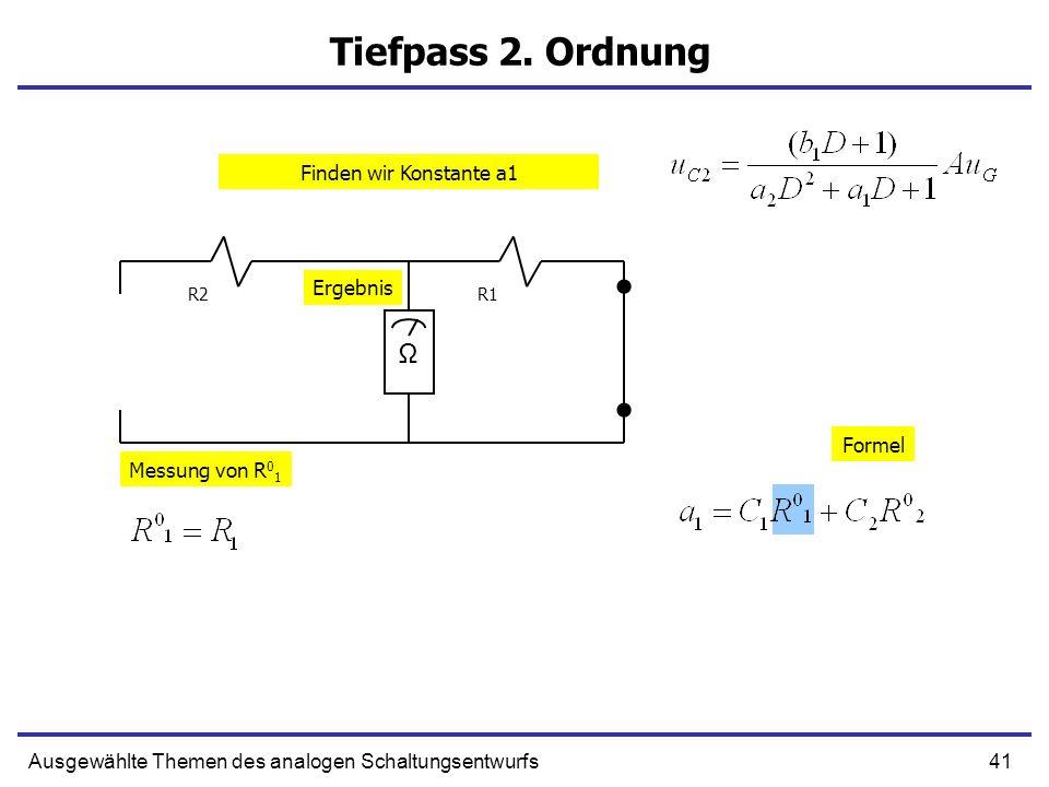 41Ausgewählte Themen des analogen Schaltungsentwurfs Tiefpass 2. Ordnung R1R2 Ω Messung von R 0 1 Formel Ergebnis Finden wir Konstante a1