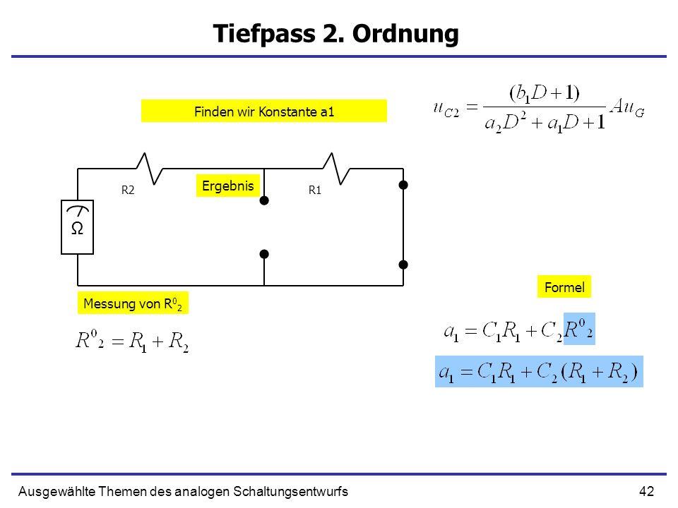 42Ausgewählte Themen des analogen Schaltungsentwurfs Tiefpass 2. Ordnung R1R2 Ω Messung von R 0 2 Formel Ergebnis Finden wir Konstante a1