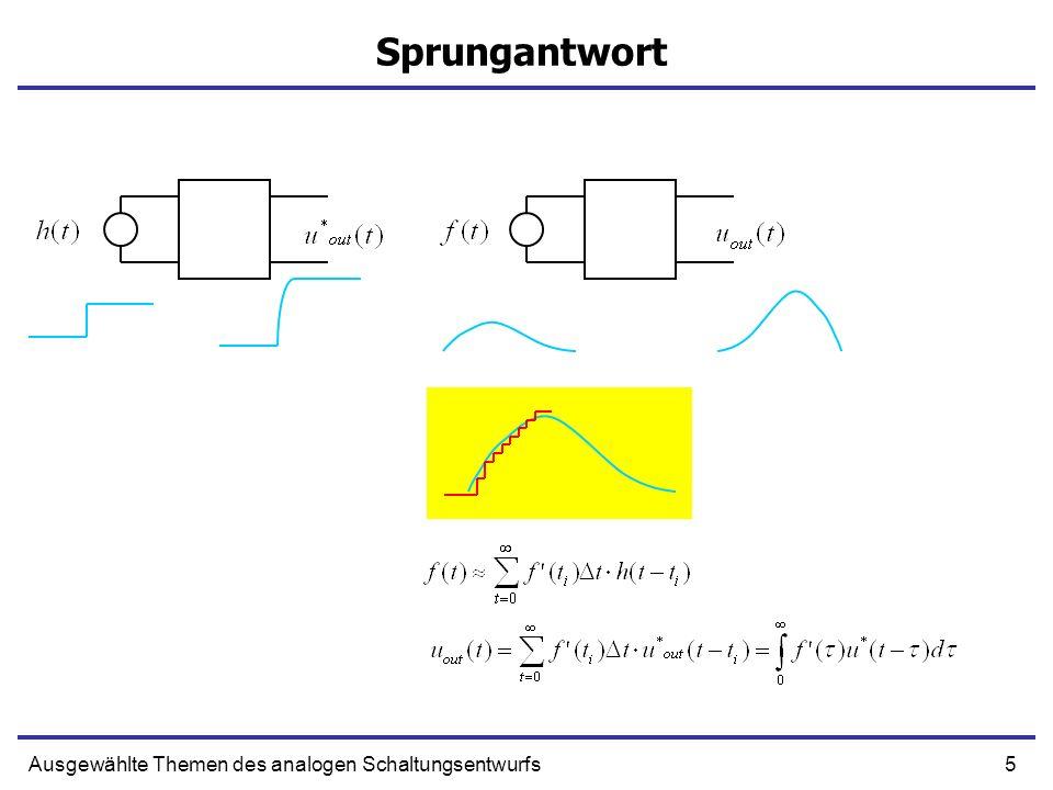 26Ausgewählte Themen des analogen Schaltungsentwurfs Schaltungen mit Kondensatoren Ersetzen wir die i Ci durch C i Du Ci (D ist zeitliche Ableitung) System von zwei Differentialgleichungen erster Ordnung u C1 u C2 uGuG Nur R + + + Ersetzen wir i durch CDu