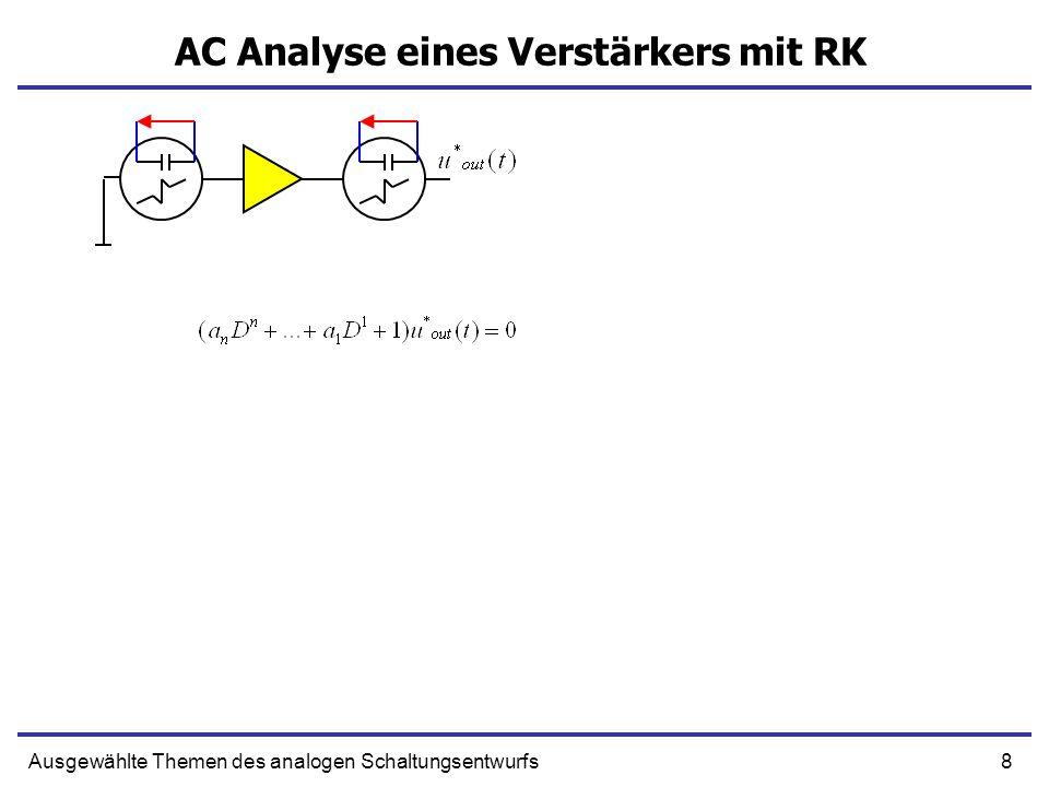 19Ausgewählte Themen des analogen Schaltungsentwurfs Verstärker 3ter Ordnung mit RK ω1ω1ω2ω2 λ1, λ2 ω3ω3 λ3λ3 Die Schnellste Zeitkonstante bleibt reell, wird kleiner T steigt Wir können die schnellste zeitkonstante vernachlässigen aber… Das System kann bei großer T instabil werden