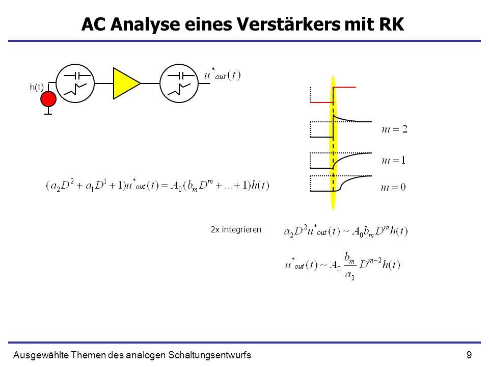 10Ausgewählte Themen des analogen Schaltungsentwurfs AC Analyse eines Verstärkers mit RK h(t) Polynom in D Charakteristische Gleichung Partikulare Lösung Wurzel sind Realzahlen