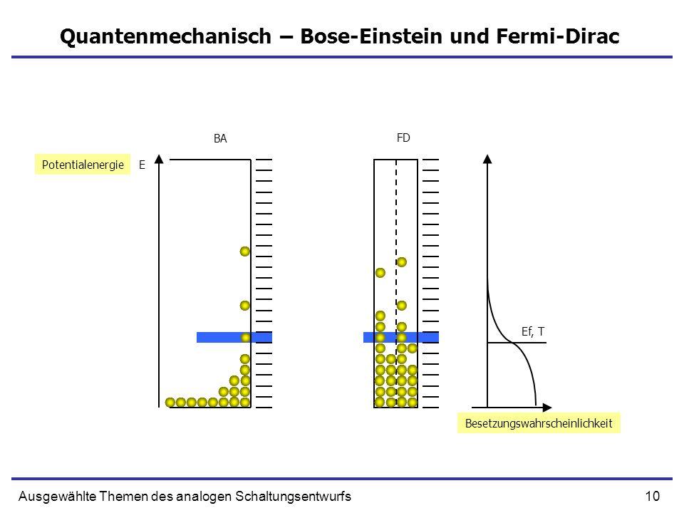 10Ausgewählte Themen des analogen Schaltungsentwurfs Quantenmechanisch – Bose-Einstein und Fermi-Dirac EPotentialenergie FD BA Ef, T Besetzungswahrscheinlichkeit