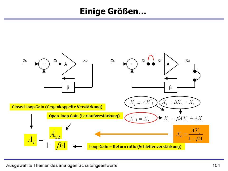104Ausgewählte Themen des analogen Schaltungsentwurfs Einige Größen… A β + XsXiXo A β + XsXi XoXi* Closed-loop Gain (Gegenkoppelte Verstärkung) Open-loop Gain (Lerlaufverstärkung) Loop Gain – Return ratio (Schleifenverstärkung)