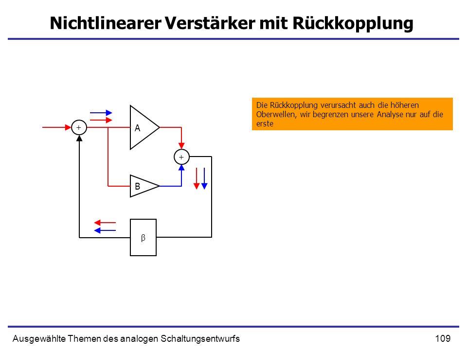 109Ausgewählte Themen des analogen Schaltungsentwurfs Nichtlinearer Verstärker mit Rückkopplung A B + β + Die Rückkopplung verursacht auch die höheren Oberwellen, wir begrenzen unsere Analyse nur auf die erste