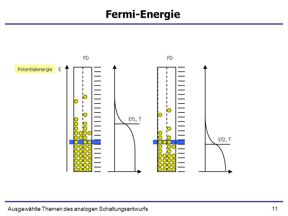 11Ausgewählte Themen des analogen Schaltungsentwurfs Fermi-Energie EPotentialenergie FD Ef2, T Ef1, T