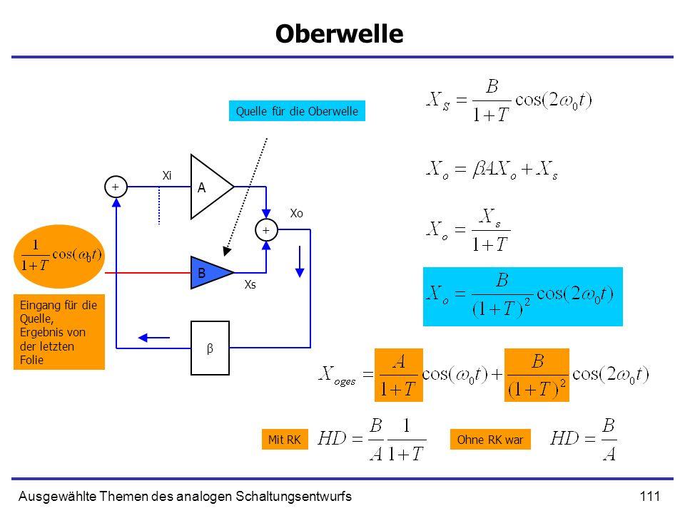 111Ausgewählte Themen des analogen Schaltungsentwurfs Oberwelle A B + β + Xs Xo Ohne RK war Quelle für die Oberwelle Eingang für die Quelle, Ergebnis