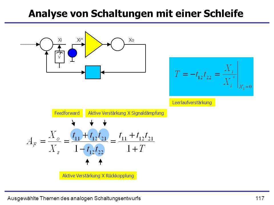 117Ausgewählte Themen des analogen Schaltungsentwurfs Analyse von Schaltungen mit einer Schleife Xi XoXi* V Leerlaufverstärkung FeedforwardAktive Verstärkung X Signaldämpfung Aktive Verstärkung X Rückkopplung