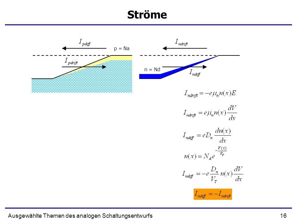 16Ausgewählte Themen des analogen Schaltungsentwurfs Ströme p = Na n = Nd