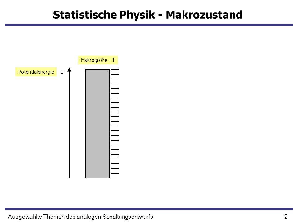 2Ausgewählte Themen des analogen Schaltungsentwurfs Statistische Physik - Makrozustand EPotentialenergie Makrogröße - T