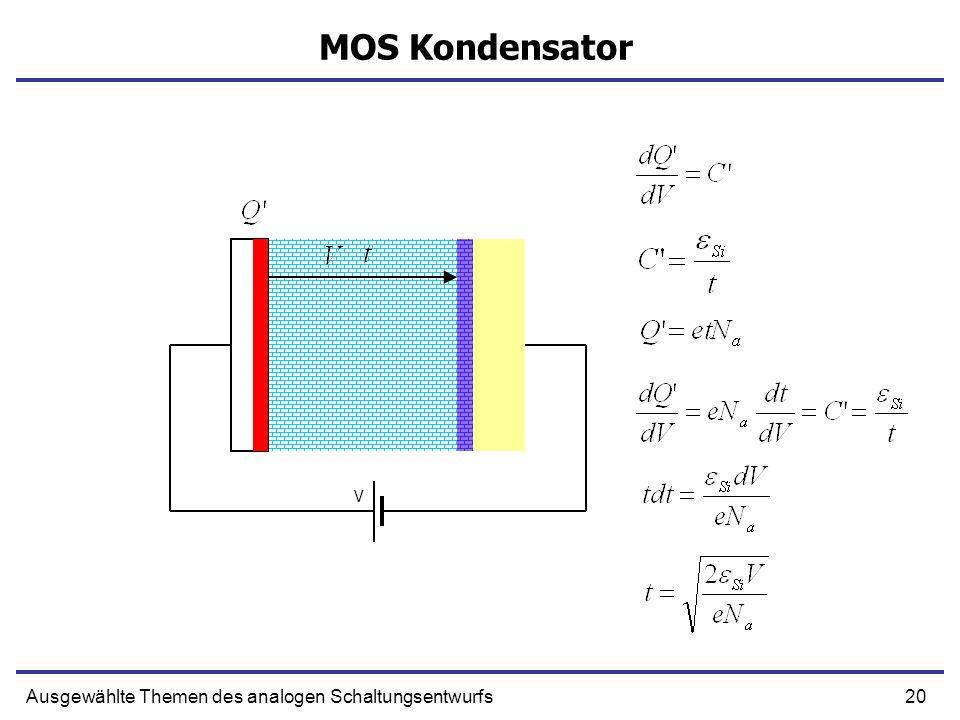 20Ausgewählte Themen des analogen Schaltungsentwurfs MOS Kondensator V