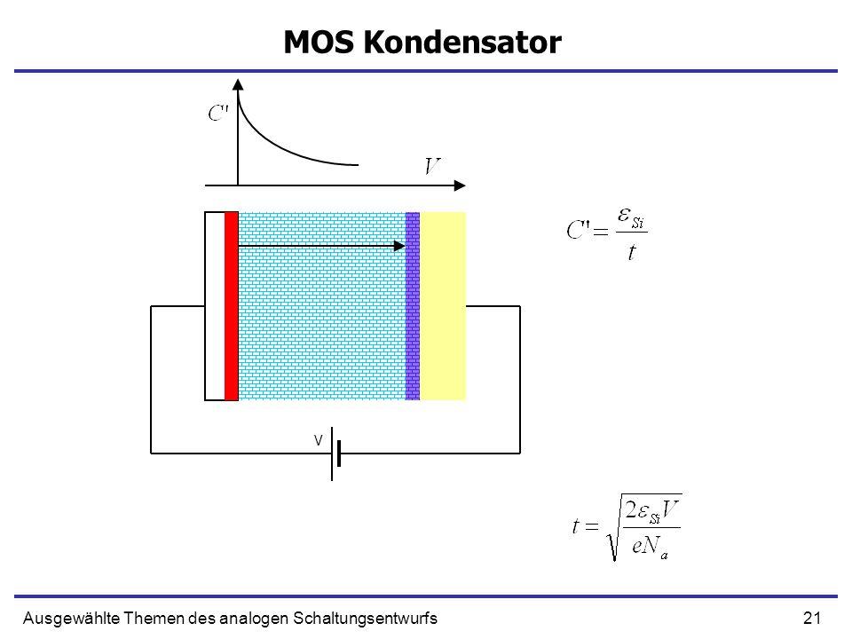 21Ausgewählte Themen des analogen Schaltungsentwurfs MOS Kondensator V