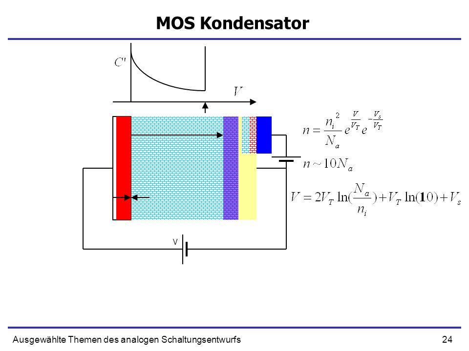 24Ausgewählte Themen des analogen Schaltungsentwurfs MOS Kondensator V