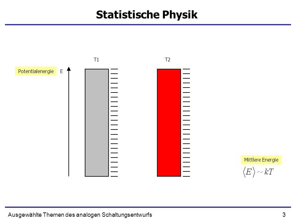 3Ausgewählte Themen des analogen Schaltungsentwurfs Statistische Physik EPotentialenergie T1T2 Mittlere Energie