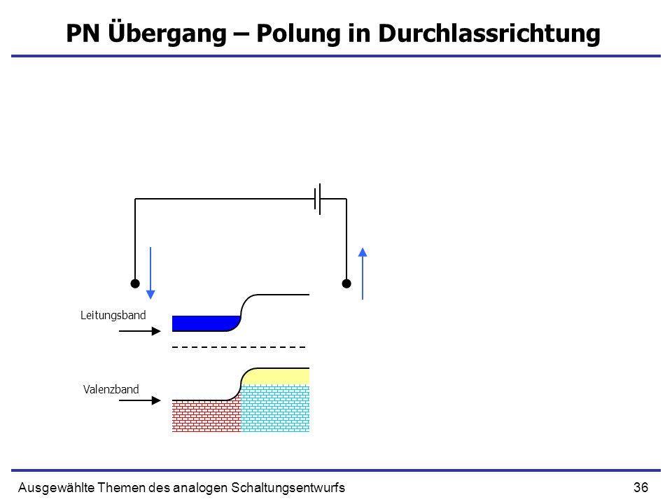 36Ausgewählte Themen des analogen Schaltungsentwurfs PN Übergang – Polung in Durchlassrichtung Leitungsband Valenzband