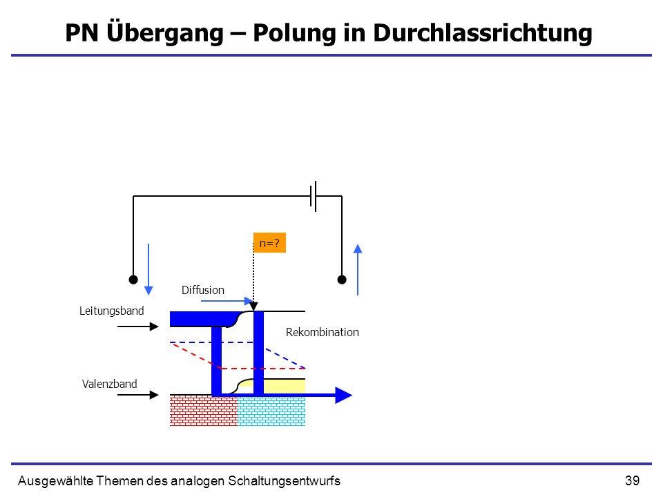 39Ausgewählte Themen des analogen Schaltungsentwurfs PN Übergang – Polung in Durchlassrichtung Leitungsband Valenzband Diffusion Rekombination n=?