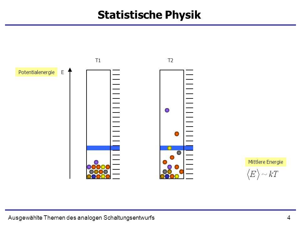 4Ausgewählte Themen des analogen Schaltungsentwurfs Statistische Physik EPotentialenergie T1T2 Mittlere Energie