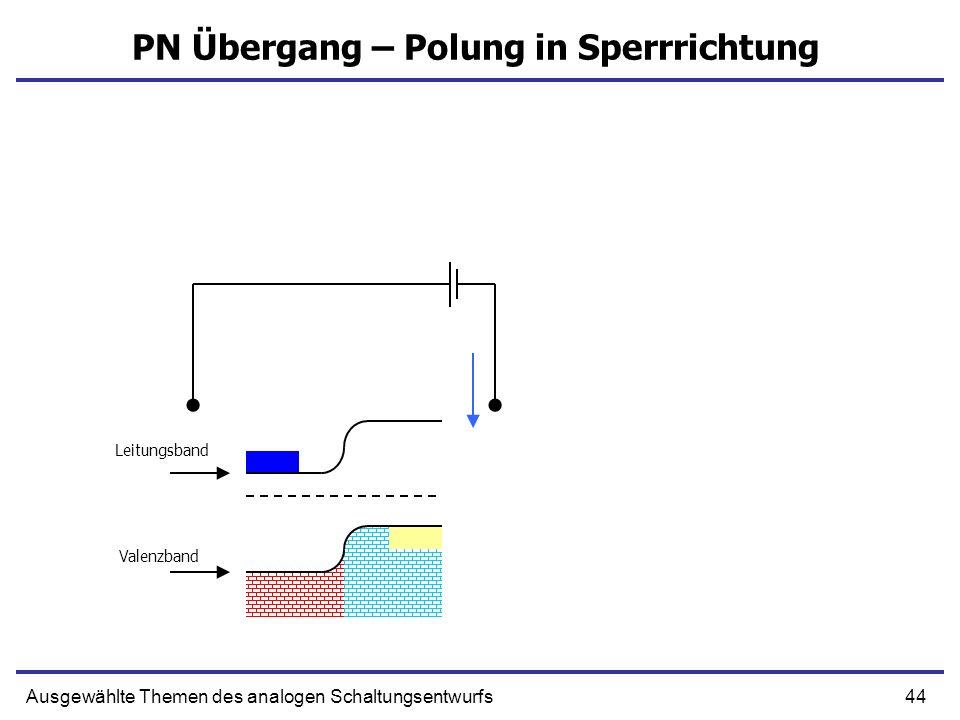 44Ausgewählte Themen des analogen Schaltungsentwurfs PN Übergang – Polung in Sperrrichtung Leitungsband Valenzband