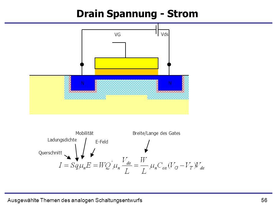 56Ausgewählte Themen des analogen Schaltungsentwurfs Drain Spannung - Strom NN NN VG Vds Querschnitt Ladungsdichte Mobilität E-Feld Breite/Lange des G