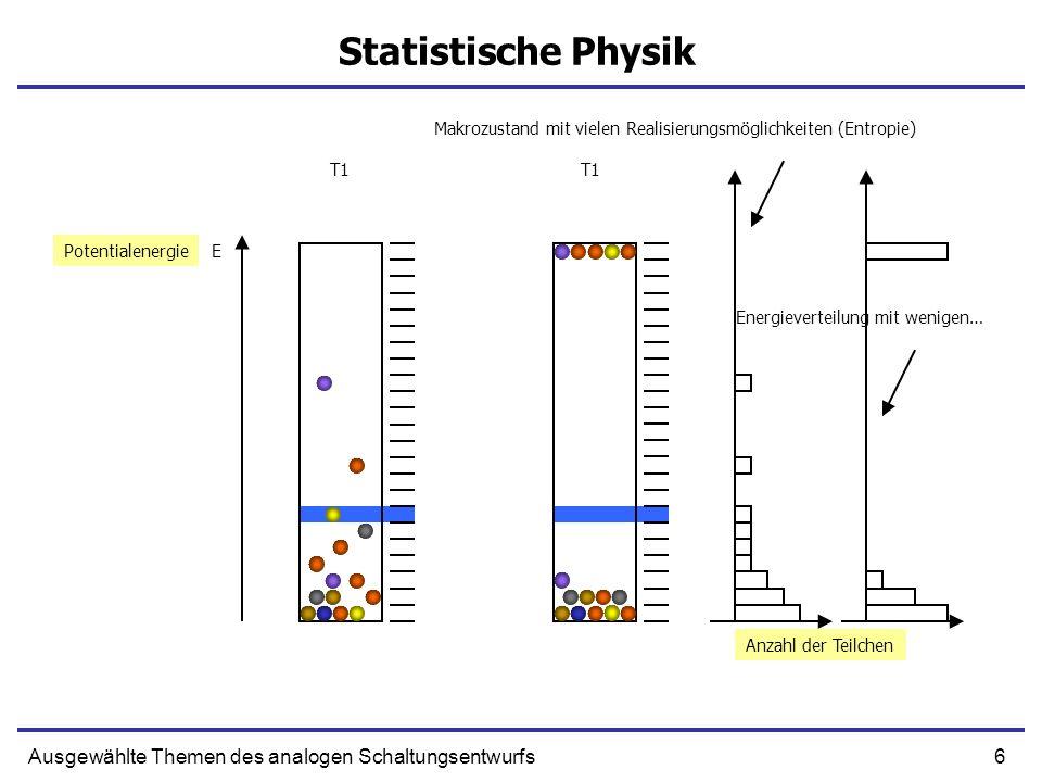 6Ausgewählte Themen des analogen Schaltungsentwurfs Statistische Physik EPotentialenergie Makrozustand mit vielen Realisierungsmöglichkeiten (Entropie) T1 Anzahl der Teilchen Energieverteilung mit wenigen…