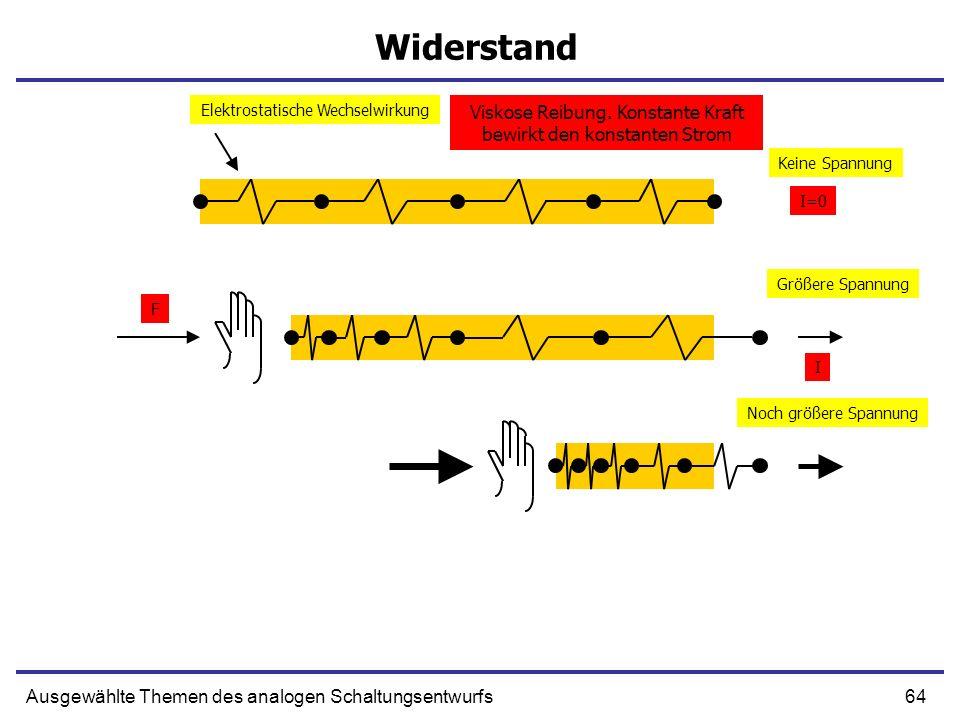 64Ausgewählte Themen des analogen Schaltungsentwurfs Widerstand Größere Spannung Keine Spannung Noch größere Spannung F I Elektrostatische Wechselwirkung I=0 Viskose Reibung.