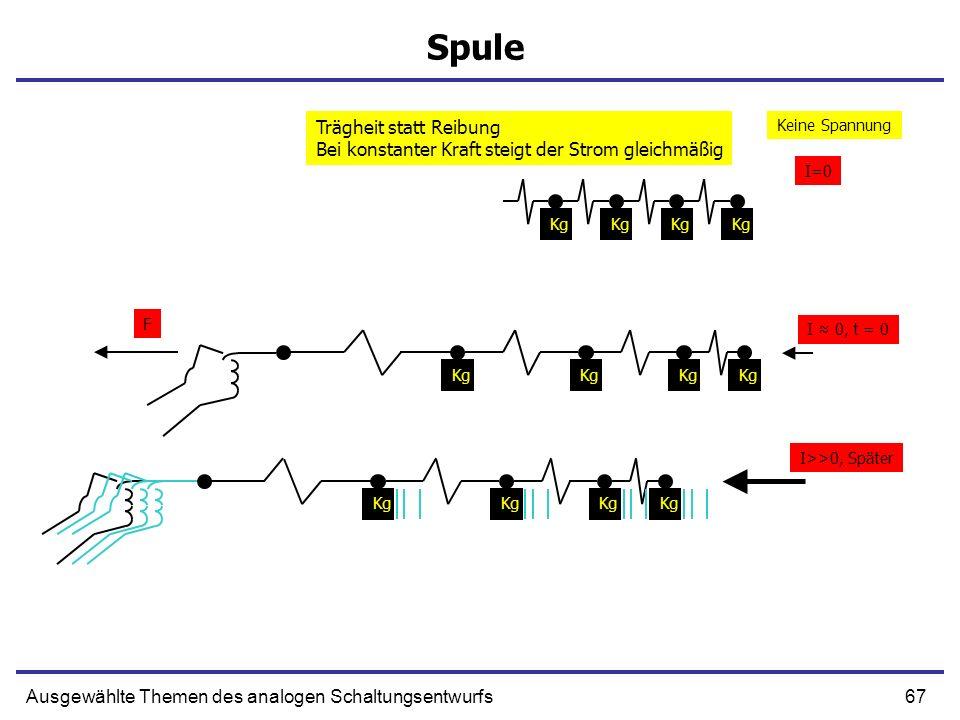 67Ausgewählte Themen des analogen Schaltungsentwurfs Spule Kg F I 0, t = 0 Kg I>>0, Später Keine Spannung I=0 Trägheit statt Reibung Bei konstanter Kr
