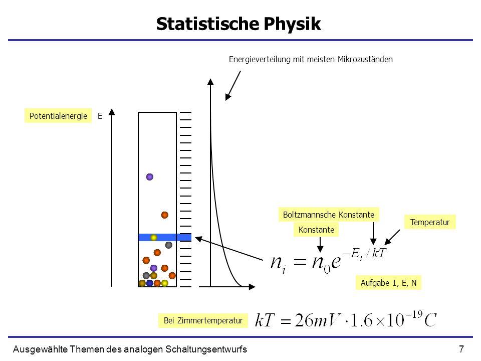 7Ausgewählte Themen des analogen Schaltungsentwurfs Statistische Physik EPotentialenergie Temperatur Boltzmannsche Konstante Konstante Bei Zimmertemperatur Aufgabe 1, E, N Energieverteilung mit meisten Mikrozuständen