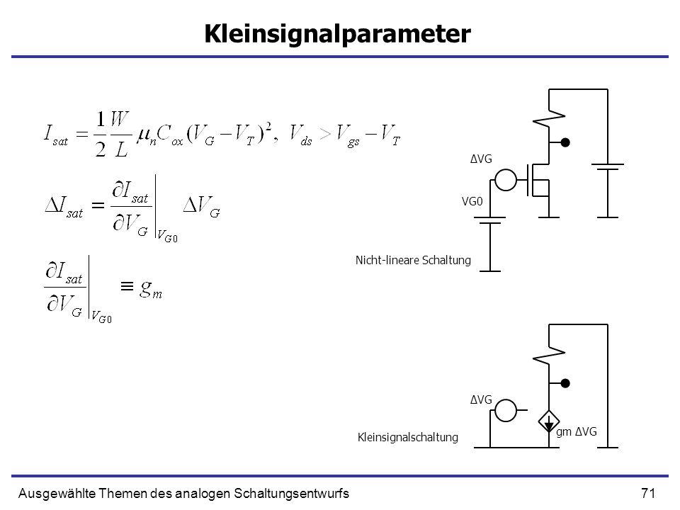 71Ausgewählte Themen des analogen Schaltungsentwurfs Kleinsignalparameter VG0 ΔVG gm ΔVG Kleinsignalschaltung Nicht-lineare Schaltung
