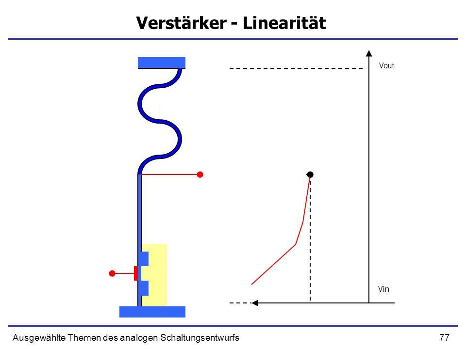 77Ausgewählte Themen des analogen Schaltungsentwurfs Verstärker - Linearität Vout Vin