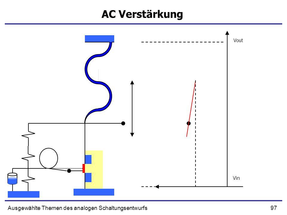 97Ausgewählte Themen des analogen Schaltungsentwurfs AC Verstärkung Vout Vin